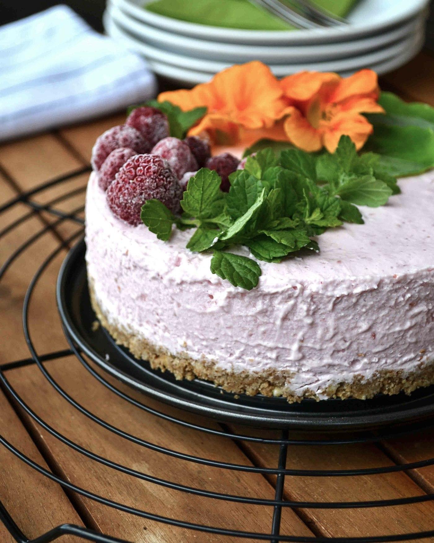 Gesunder No Bake Cheesecake Mit Himbeeren Lillymarilly